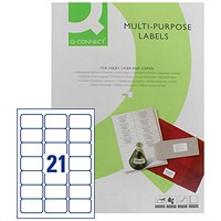 Q-Connect Multi-Purpose Label, 63.5x38mm, 21 per Sheet, Pack of 100 Sheets