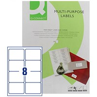 Q-Connect Multi-Purpose Label, 99.1x67.7mm, 8 per Sheet, Pack of 100 Sheets