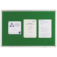 Q-Connect Noticeboard, Aluminium Trim, W900xH600mm, Green