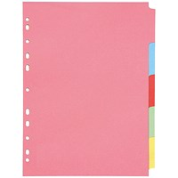 Q-Connect Subject Dividers, 5-Part, A4, Assorted