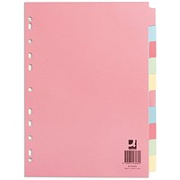 Q-Connect Subject Dividers, 10-Part, A4, Assorted