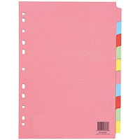 Q-Connect 10-Part Subject Divider Multi-Punched A4 (Pack of 25)