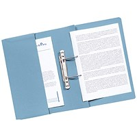 Q-Connect Transfer Pocket Files, 300gsm, Foolscap, Blue, Pack of 25