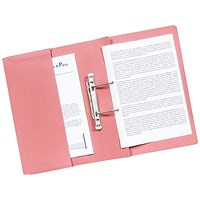 Q-Connect Transfer Pocket Files, 300gsm, Foolscap, Pink, Pack of 25