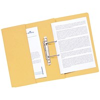 Q-Connect Transfer Pocket Files, 300gsm, Foolscap, Yellow, Pack of 25