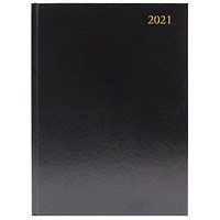 Desk Diary 2 Pages Per Day A4 Black 2021