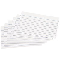 Q-Connect Record Cards, Ruled Both Sides, 127x76mm, White, Pack of 100