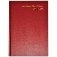 Academic Diary Week To View A5 Burgundy 2021-22