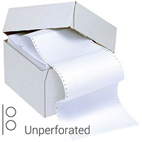 Q-Connect Computer Listing Paper, 1-Part, 11 inch x 370mm, 60gsm, Un-Perforated, Plain, White, Box (2000 Sheets)
