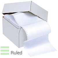 Q-Connect Computer Listing Paper, 1-Part, 11 inch x 362mm, 60gsm, Un-Perforated, Plain, White & Green, Ruled, Box (2000 Sheets)