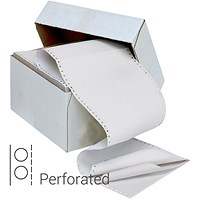 Q-Connect Computer Listing Paper, 3 Part, 11 inch x 241mm, Perforated, All Sheets White, Box (700 Sheets)