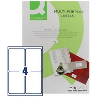 Q-Connect Multipurpose Labels, 139x99mm, 4 Per Sheet, Pack of 100 Sheets