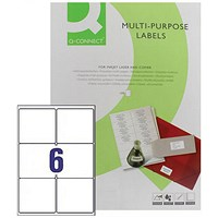 Q-Connect Multipurpose Labels, 99.1x93.1mm, 6 Per Sheet, Pack of 100 Sheets