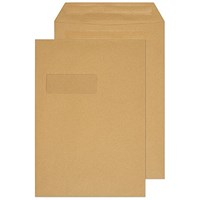 Q-Connect C4 Envelopes Window Pocket Self Seal 90gsm Manilla (Pack of 250)