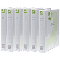 Q-Connect Presentation Binder, A4, 2 D-Ring, 25mm Capacity, White, Pack of 6