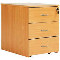 Jemini Intro 3 Drawer Mobile Pedestal, Beech