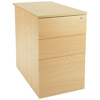 Jemini Intro 3 Drawer Desk High Pedestal, 600mm Deep, Oak