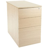 Jemini Intro 3 Drawer Desk High Pedestal, 600mm Deep, Maple