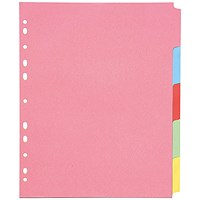 Q-Connect Subject Dividers, Extra Wide, 5-Part, A4, Assorted