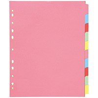Q-Connect Subject Dividers, Extra Wide, 10-Part, A4, Assorted
