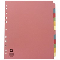 Q-Connect Subject Dividers, Extra Wide, 12-Part, A4, Assorted