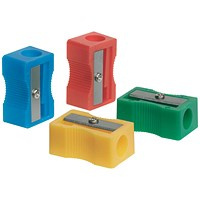Q-Connect Plastic Pencil Sharpener Single Hole Assorted (Pack of 10)