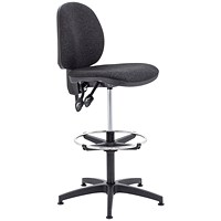 Arista High Rise Chair, Adjustable Footrest, Charcoal