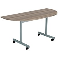 Jemini D-End Tilt Table 1400x700mm Dark Walnut/Silver