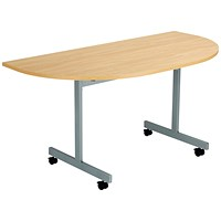 Jemini D-End Tilt Table 1400 x 700mm Nova Oak/Silver