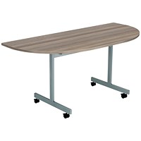 Jemini D-End Tilt Table 1600 x 800mm Grey Oak/Silver