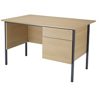 Jemini Intro Traditional Desk with 2-Drawer Pedestal, 1200mm Wide, Oak