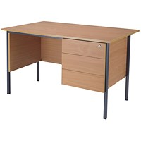 Jemini Intro Traditional Desk with 3-Drawer Pedestal, 1200mm Wide, Beech
