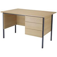 Jemini Intro Traditional Desk with 3-Drawer Pedestal, 1200mm Wide, Oak