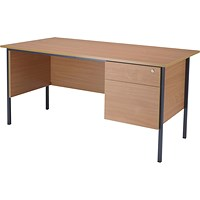 Jemini Intro Traditional Desk with 2-Drawer Pedestal, 1500mm Wide, Beech