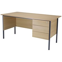 Jemini Intro Traditional Desk with 3-Drawer Pedestal, 1500mm Wide, Oak