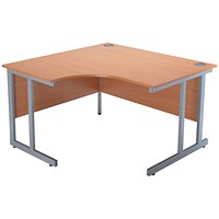 Jemini Intro Cantilever Corner Desk, Left Hand, 1200mm Wide, Beech