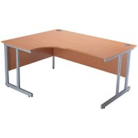 Jemini Intro Cantilever Corner Desk, Left Hand, 1500mm Wide, Beech