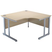 Jemini Intro Cantilever Corner Desk, Right Hand, 1200mm Wide, Maple