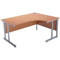 Jemini Intro Cantilever Corner Desk, Right Hand, 1500mm Wide, Beech
