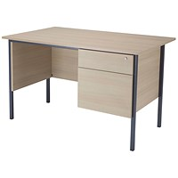 Jemini Intro Traditional Desk with 2-Drawer Pedestal, 1200mm Wide, Maple