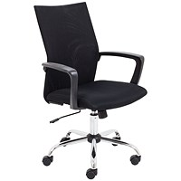 Jemini One Task Mesh Chair with Fixed Arms Black