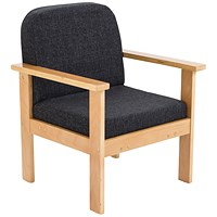 FF First Wooden Reception Armchair Charcoal