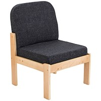 FF First Wooden Reception Side Chair Charcoal