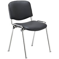 Jemini Multipurpose Stacker Chair Chrome/Black Polyurethane