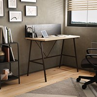 Computer Desk W1000mm with Backboard Oak/Brown Legs