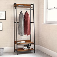 Coat Stand H1690 with Rail 3 Shelves Walnut/Brown Metal