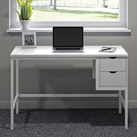 Computer Desk White W1200mm 2 Drawers White Legs