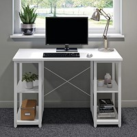 Computer Desk W1200mm with Shelves White/White Legs
