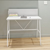 Computer Desk W1000mm with Backboard White/White Legs