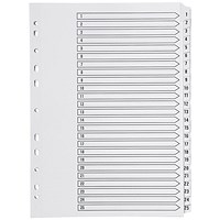 Q-Connect Index Dividers, 1-25, Clear Tabs, A4, White